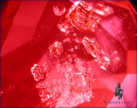 Guest crystals in an unheated Mogok Ruby.