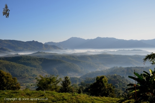 The morning mist over the Mogok valley