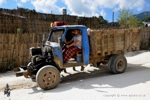 A 'customised' truck transporting marble boulders for processing.