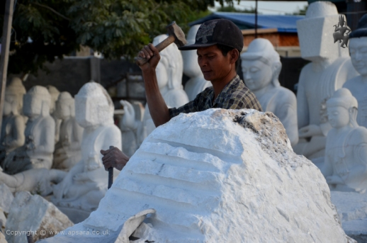 Early stages of marble carving in Sagyin ...