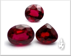 Three typical rubies from Bo Rai, Trat
