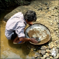Washing gem bearing gravel at Bo Rai, Trat ...