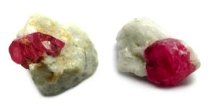 Ruby crystals in marble matrix from Jagdalek, Afghanistan.